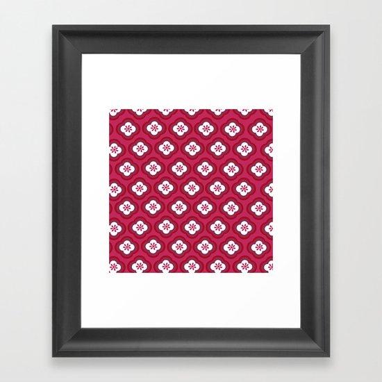 Red Graphic Flower Framed Art Print