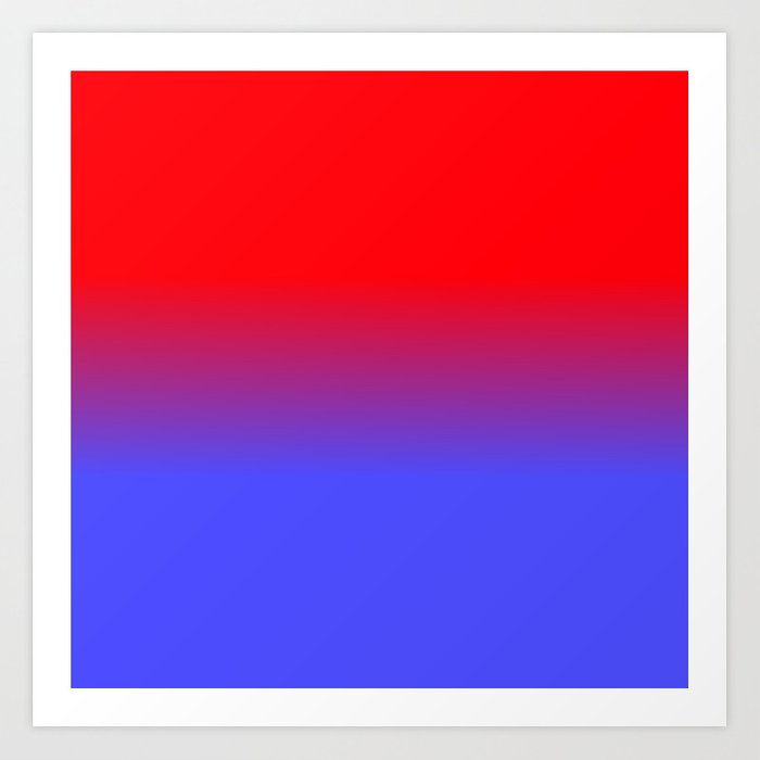 Neon Red And Bright Blue Ombre Shade Color Fade Art Print