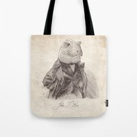 bouletcorp Tote Bags featuring John T. Rex by Bouletcorp