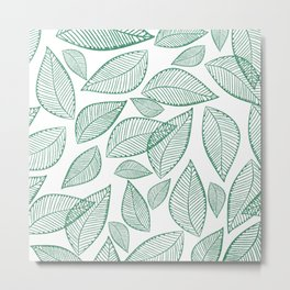 Modern abstract green glitter foliage floral Metal Print