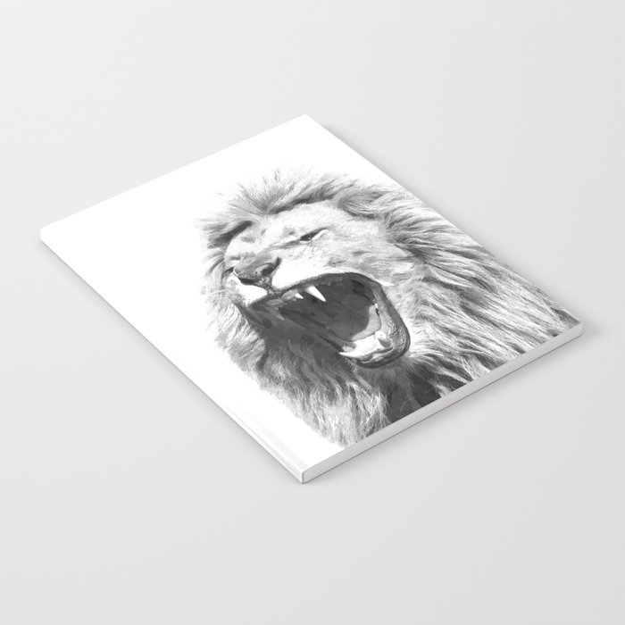 Black White Fierce Lion Notebook