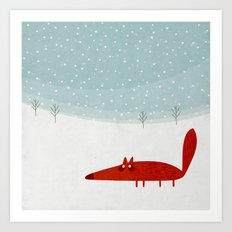 the fox in the snow Art Print
