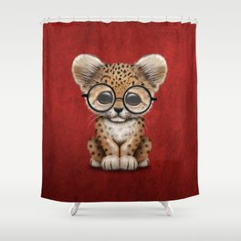 Cute Baby Leopard Cub Wearing Glasses on Deep Red Shower Curtain