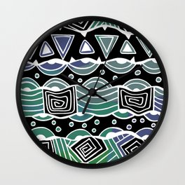 Wavy Tribal Lines with Shapes - Green Blue Black - Doodle Drawing Wall Clock