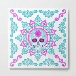 Pastel Day of the Dead Skull Metal Print