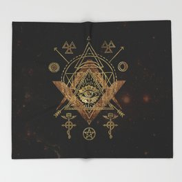 Mystical Sacred Geometry Ornament Throw Blanket