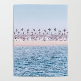 Vintage Newport Beach Print {3 of 4} | Photography Ocean Palm Trees Cool Blue Tropical Summer Sky Poster