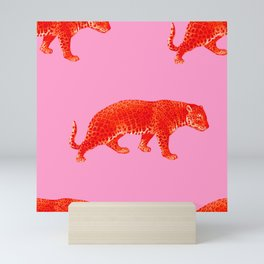 Vintage Cheetahs in Coral + Red Mini Art Print