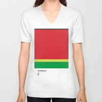 pantone V-neck T-shirts featuring Pantone Fruit - Watermelon by Picomodi