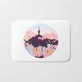 Seoul Tower with Cherry Blossoms Woodblock Style Souvenir Print Bath Mat