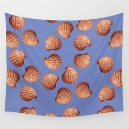 Blue Big Clams Illustration pattern Wall Tapestry