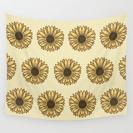 Retro Pop Sunflowers x Pastel Yellow Wall Tapestry