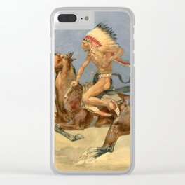 "Frederic Remington Western Art ""Pony War Dance"" Clear iPhone Case"