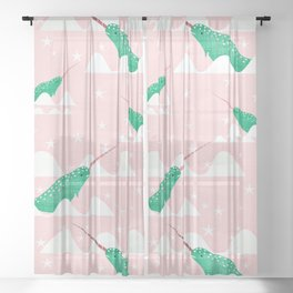 Sea unicorn - Narwhal green and pink Sheer Curtain