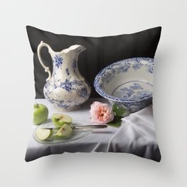 Delft blue china and apples still life Throw Pillow