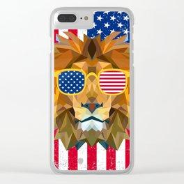 Patriotic Lion USA Flag Clear iPhone Case