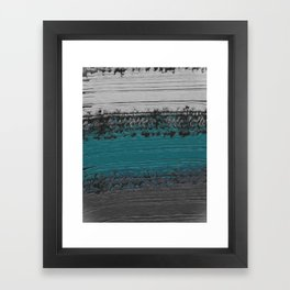 Teal and Gray Abstract Framed Art Print