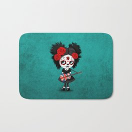 Day of the Dead Girl Playing Union Jack British Flag Guitar Bath Mat