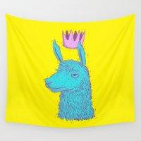 llama Wall Tapestries featuring Llama King by lxromero