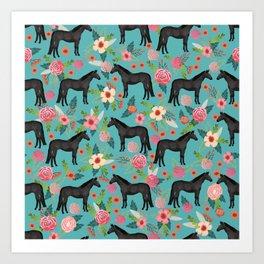 black beauty, mare, horse, horses, floral, florals, black horse, horse bedding, horse decor, cowgirl Kunstdrucke