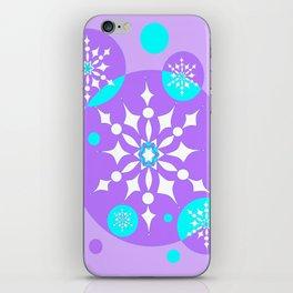 A Lavender and Aqua Snowflake Design iPhone Skin