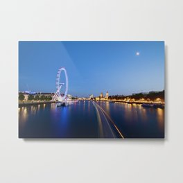 Night Time on the River Thames Metal Print