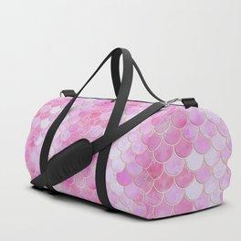 Pink Pearlescent Mermaid Scales Pattern Duffle Bag