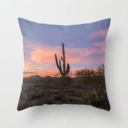 Desert sunset saguaro Throw Pillow