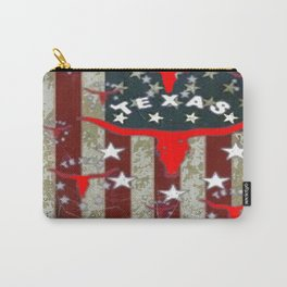 Grungy Old Looking Texas  Pride Longhorn Americana Carry-All Pouch