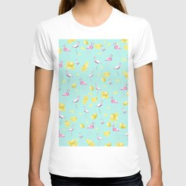 Flamingo Lemon Twist Summer Pattern #1 (Kids Collection) #decor #art #society6 T-shirt
