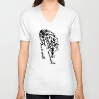 hunter V-neck T-shirts featuring Hunter by Stevyn Llewellyn