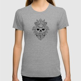 Tribal feather skull ink drawing T-shirt