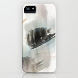 Build Me Up, Buttercup - a minimal acrylic and ink abstract piece in blue, black, and tan iPhone Case