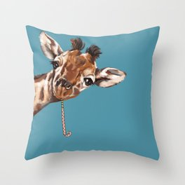 Sneaky Giraffe Throw Pillow