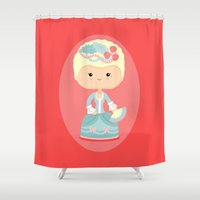 marie antoinette Shower Curtains featuring Marie Antoinette by Sombras Blancas Art & Design