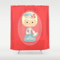 marie antoinette Shower Curtains featuring Marie Antoinette by Sombras Blancas Art & Design