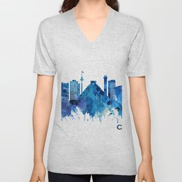 Cancun Mexico Skyline Blue Unisex V-Neck