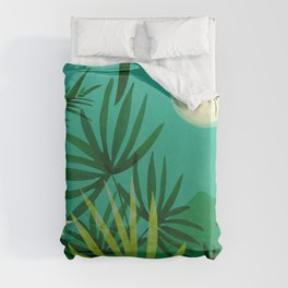 Exotic Garden Nightscape / Tropical Night Series #2 Duvet Cover