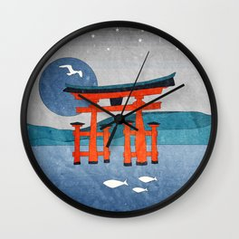 Japanese Shinto at Evening Wall Clock