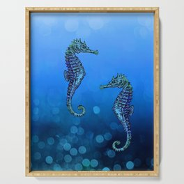 Sea Horse Couple In Deep Blue Water Serving Tray