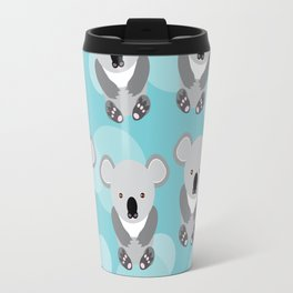 koala Seamless pattern with funny cute animal on a blue background Travel Mug