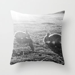 Bunny // Black and White Cute Nursery Photograph Adorable Baby Bunnies in the Field Throw Pillow