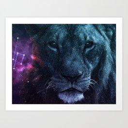 Dark Galaxy Lion Art Print