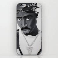 tupac iPhone & iPod Skins featuring Pop Cult™ - Tupac 2 by Lina Barbarin - Pop Cult™ & Aminals™
