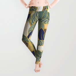 Leaf wall // navy blue pine and sage green leaves golden lines Leggings