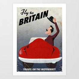 Vintage British car travel poster Art Print