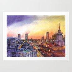 Sunset in Warsaw Art Print