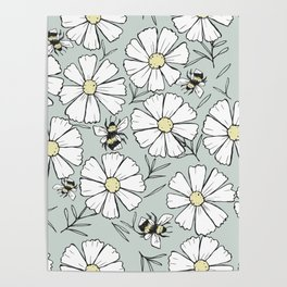 Bees and cosmos flowers Poster