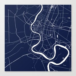 Bangkok Thailand Minimal Street Map - Navy Blue and White II Canvas Print