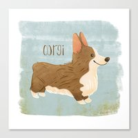 corgi Canvas Prints featuring Corgi by 52 Dogs
